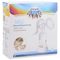 Ручной практичный молокоотсос с широким, стандартным горлышком для сцеживания в бутылочку Canpol Babies Basic