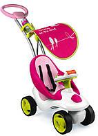 Детская Игровая Регулируемая Каталка-трансформер звуковая с рулем на колесах Bubble Go Neo розовая Smoby Смоби