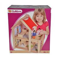 Детский Игровой Набор Деревянный 2-х этажный дом для кукол с террасой и мебелью Eichhorn 35x22,5x40 см