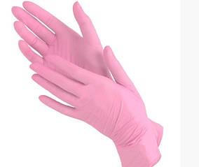 Перчатки нитриловые Medicom L неопудренные текстурированные  50 пар Розовые (MAS40018)