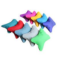 Мягкая детская подушка для шеи автомобильная из водооталкивающего материала разноцветная Бабочка 18х8 см