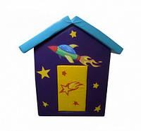 Мягкий детский игровой объемный домик с аппликациями разборный из матов для квартиры Космос 140х100х100 см