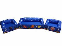 Мягкий модульный игровой комплект мебели с рисунком для детей из 3-х элементов с диваном и креслами Океан