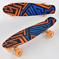 Детский Скейт (пенни борд) Penny board со светящимися колесами, 55х14.5 см до 70 кг АБСТРАКЦИЯ арт. 7620/99160