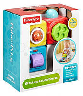 Детские Игровые Развивающие Обучающие двигающиеся кубики 3 штуки с элементами и кнопкой Fisher-Price