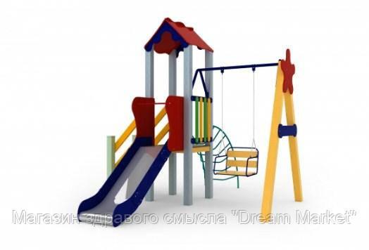 Спортивно-игровой уличный комплекс для детской площадки с качелей и металлической горкой Бабочка 363х274х245см