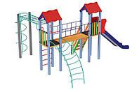 Спортивно-игровой уличный комплекс для детской площадки с одной металлической горкой Вагончик 590х537х345 см