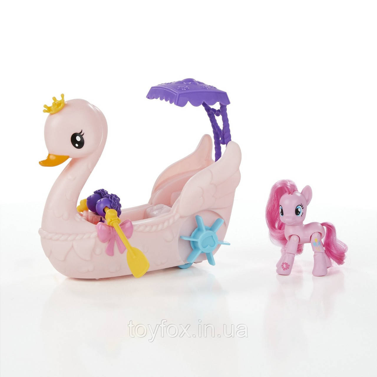 Купить Игровые фигурки, роботы трансформеры, Детский Игровой набор для Девочек My Little Pony - Пинки Пай на лодке в виде розового лебедя с веслами и зонтом, Hasbro