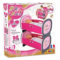 Детская Игрушечная 2-х ярусная Кроватка-Колыбель для девочек розовая для близнецов пупсов до 42 см Smoby Смоби