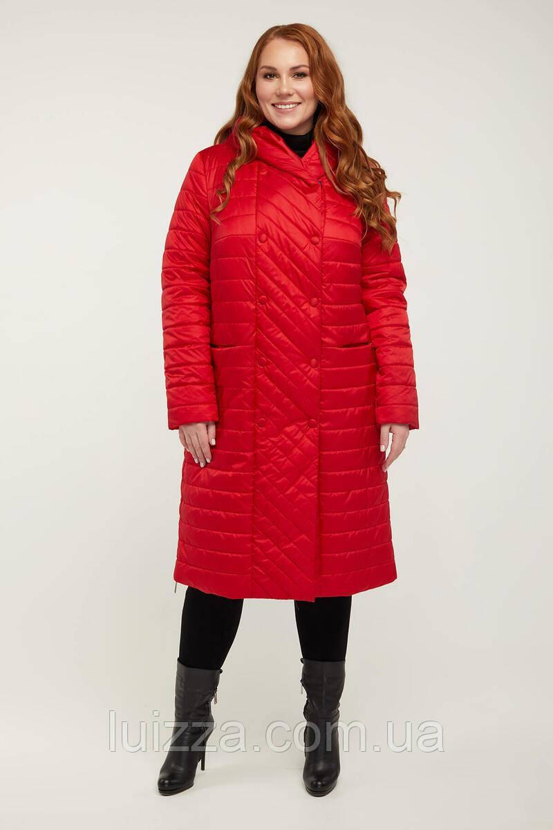 Стеганное пальто деми 58 р  красное