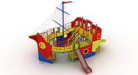 Спортивно-игровой уличный комплекс для детской площадки с металлической прямой горкой Пираты 1300х800х960 см