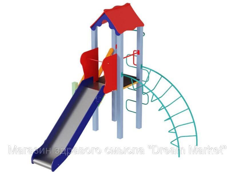 Спортивно-игровой комплекс Петушок с металлической горкой H=150см для детской уличной площадки 363х323х345 см