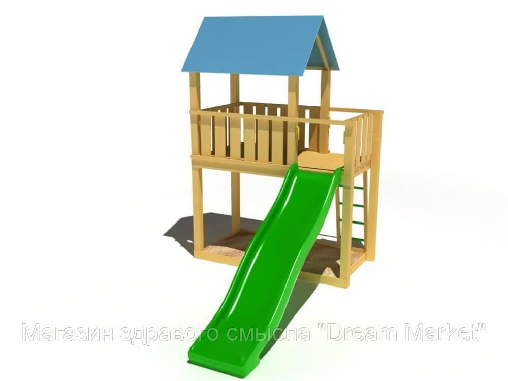 Спортивно-игровой уличный комплекс для детской площадки с одной пластиковой горкой Добрый 420х210х395 см