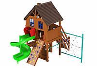 Спортивно-игровой уличный комплекс для детской площадки с двумя горками и скалодромом Вилла 531х436х390 см