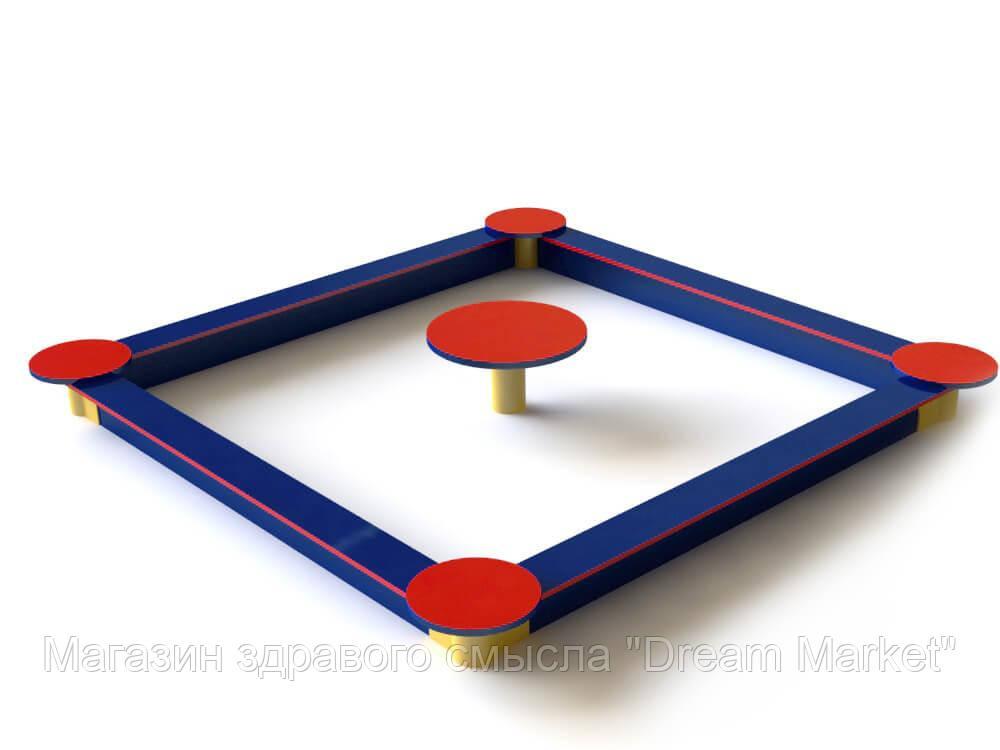 Игровая Открытая Влагостойкая Квадратная Песочница со столиком для детей от 6 до 12 лет до 80 кг 250х250х32 см