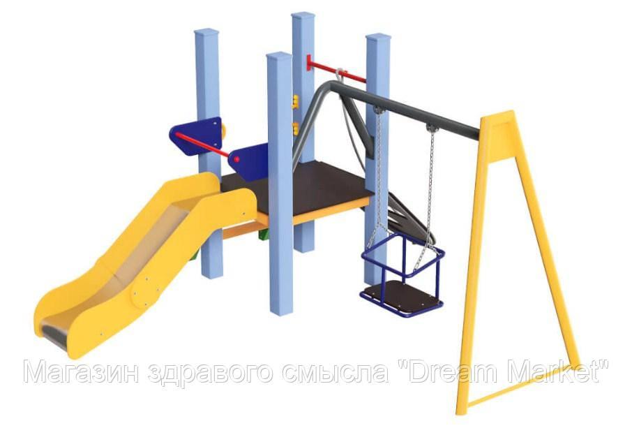 Спортивно-игровой Комплекс Spider Kid для детсадовской площадки с горкой, качелями и лазалкой 270х270х150 см