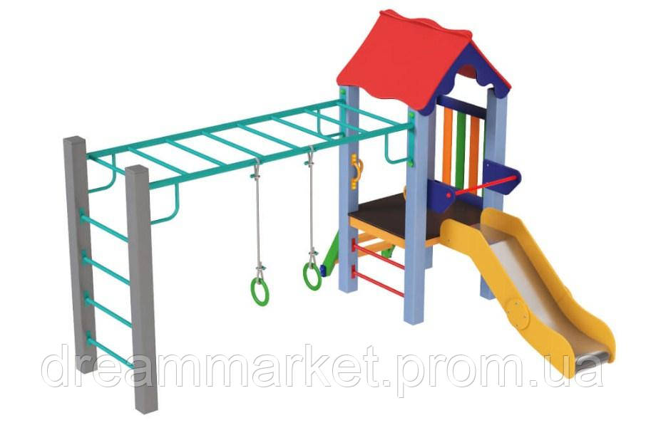 Спортивно-игровой Комплекс Kinder Sport для площадок детсадов и школ с горкой, кольца и брусья 300х240х200 см