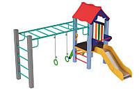 Спортивно-игровой Комплекс Kinder Sport для площадок детсадов и школ с горкой, кольца и брусья 300х240х200 см, фото 1