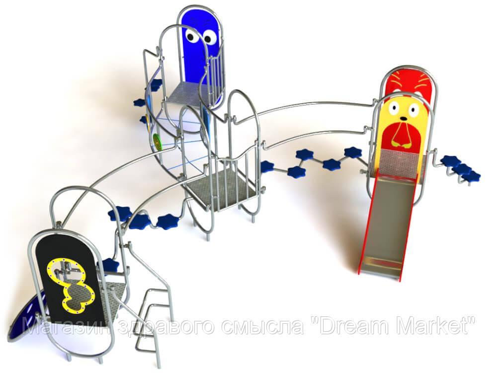Детский Спортивно-игровой Комплекс Париж с горкой, 4 платформ, подъемом для скалолазания, мостом 520х470х190см