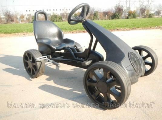 Современный металлический веломобиль для детей и взрослых для улицы до 80 кг El Coche черный 117х63х70 см
