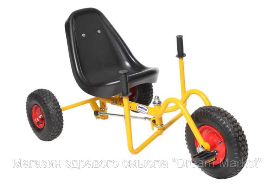 Современный веломобиль с камерными колесами для детей от 3 до 15 лет до 60 кг WOW желтый для улицы 113х58х57см