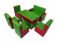 Комплект мягкой модульный детской мебели из 6 элементов со стульями,диваном и столом Гостинка Люкс 130х95х50см