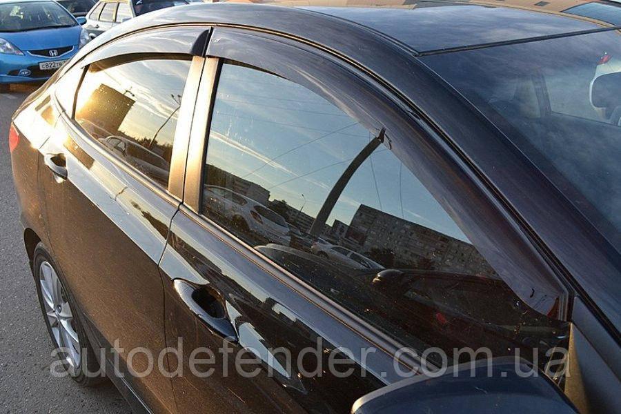 Дефлекторы окон (ветровики) Hyundai Accent/Solaris sedan 2010-2018, ANV - Cobra Tuning, H22510