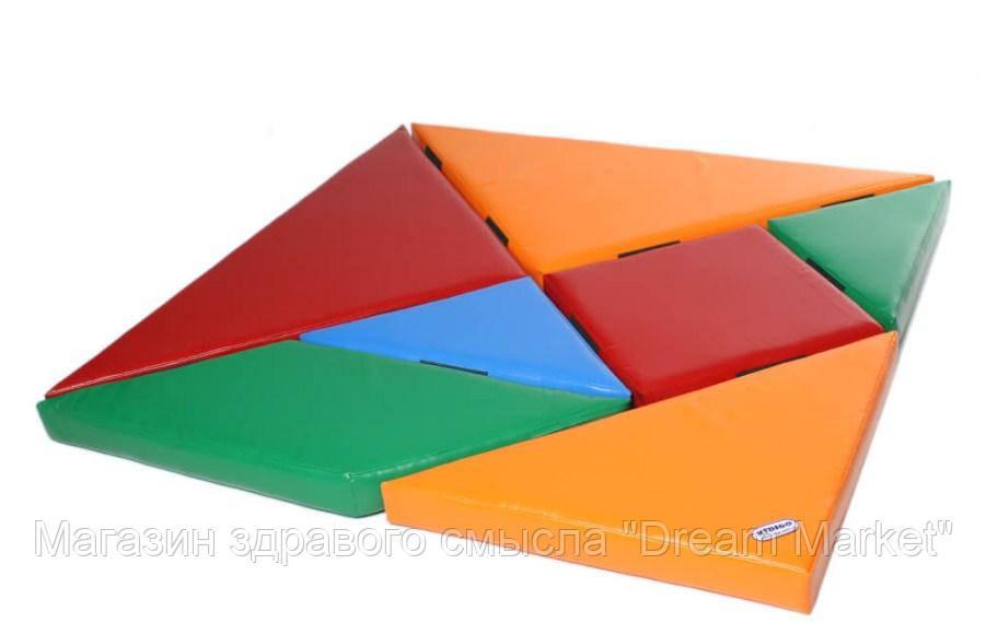 Мягкий Спортивно-игровой модульный набор Пазл для детей из 7 предметов для дома, игровых центров 150х150х8 см