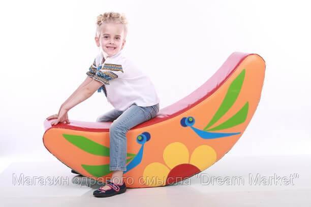 Детская мягкая спортивная игровая качалка с аппликацией из ПВХ для дома, сада или школы Бабочка 122х25х50 см