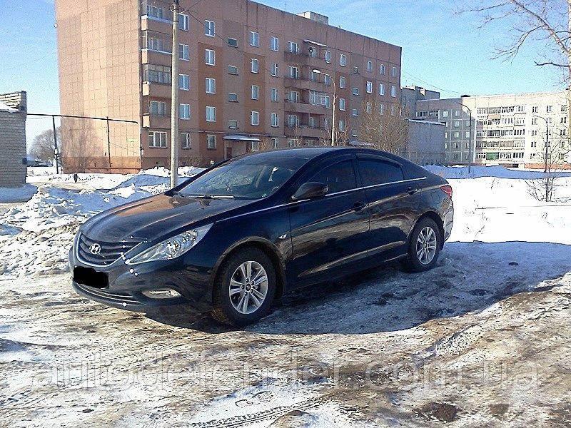 Дефлекторы окон (ветровики) Hyundai Sonata YF 2009-2014, ANV - Cobra Tuning, H22409