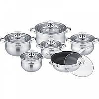 Набор кастрюль и сковородок с крышкой Maxmark MK-BL2512A из 12 предметов
