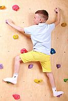 Детская развивающая стенка-скалодром на каркасе для квартиры с 20 зацепами «Скалолаз» до 100 кг 125х200 см