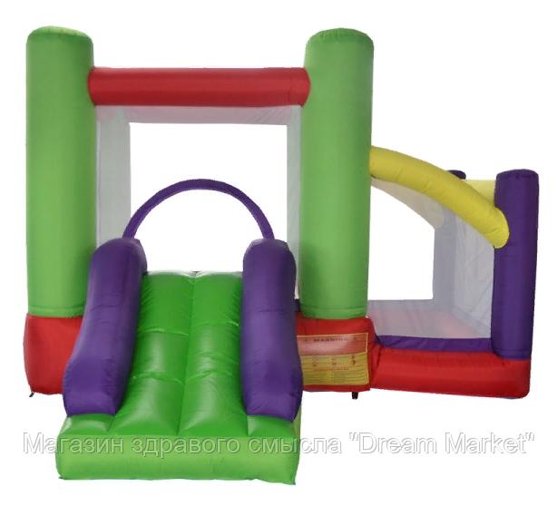 Детский Надувной Батут Soft Space с 2 зонами и горкой для дачи и дома для детей от 3 до 14 лет, 350х310х220 см