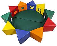 Мягкий детский Игровой Манеж-бассейн Солнышко разборный с сиденьями на липучке, с аппликацией D=160см, H=30см, фото 1