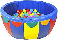 Мягкий развивающий детский игровой модульный сухой бассейн разборный для дома и улицы с шариками 100х40х5 см