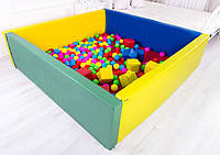 Мягкий развивающий игровой модульный сухой бассейн разборный для дома и улицы без шариков с матом 200х200х40см