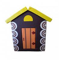 Мягкий детский игровой объемный домик с аппликациями разборный из матов для квартиры Теремок 140х100х100 см