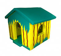 Детский Мягкий Игровой объемный Домик Джунгли с аппликациями разборный из матов для квартиры 130х140х130 см