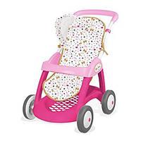 Игровая Кукольная прогулочная Коляска Smoby Baby Nurse для кукол до 42 см, с корзиной и козырьком, розовая