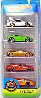 Игрушка Детская Для Мальчиков Подарочный Набор Машинок гоночные 5 штук Хот Вилс HW Exotics Hot Wheels Mattel