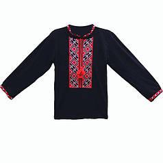 Вышиванка крестиком детская для мальчика с длинным рукавом. 40-42, Черный