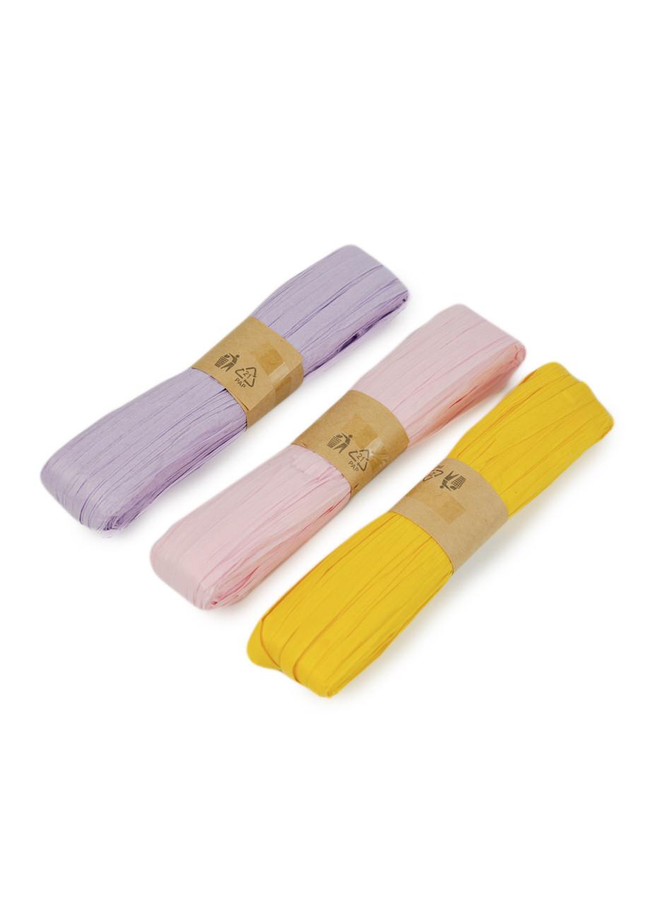 Декоративная лента (3шт) 30м Melinera 30м Сиреневый, Розовый, Желтый