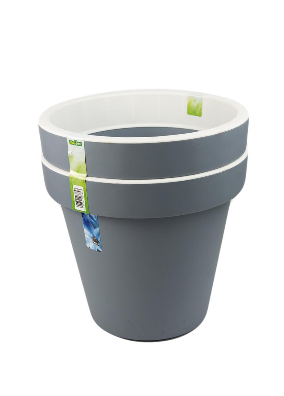 Горщик для рослин (2шт) Florabest 29х26,5х17,5 см Сірий, Білий