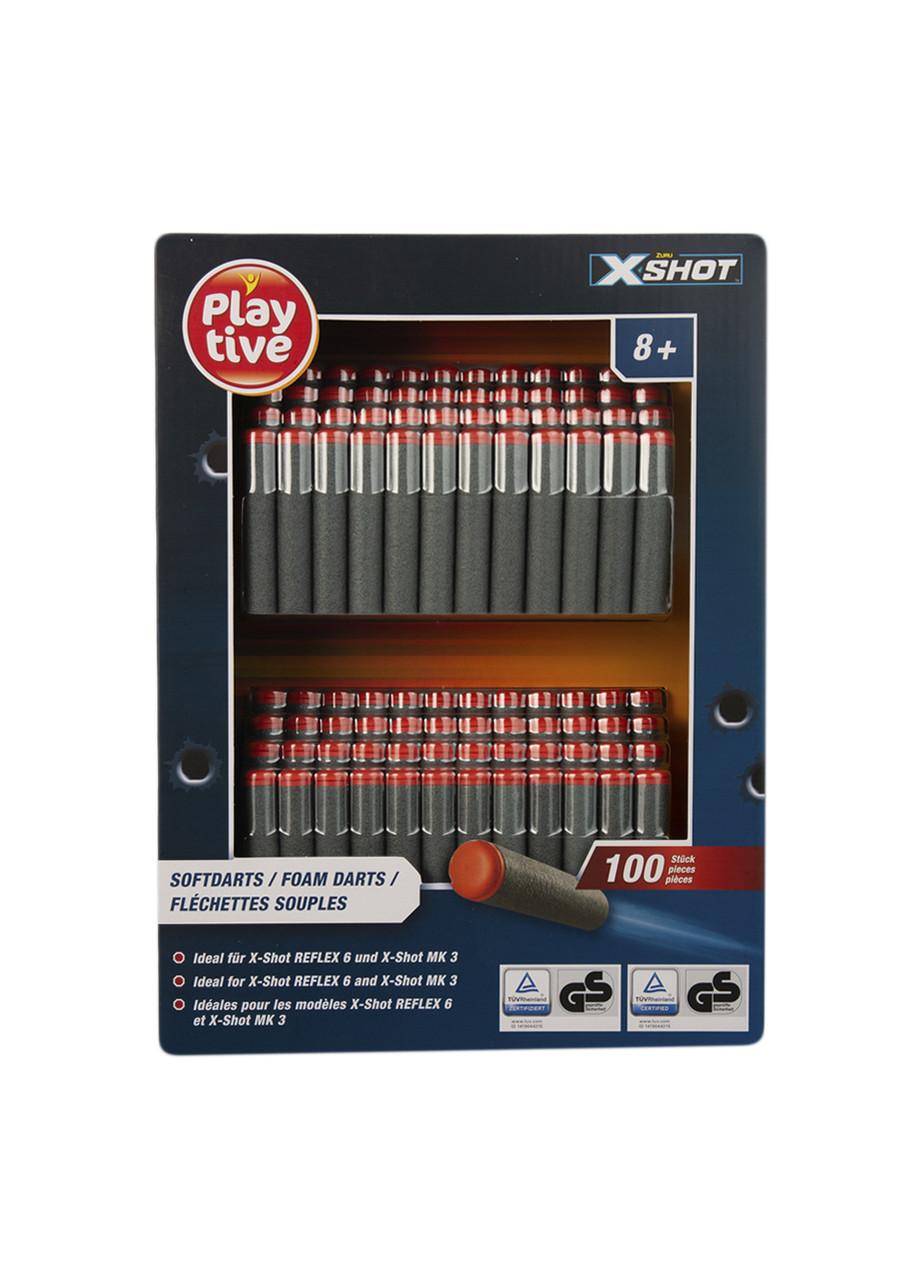 Набор поролоновых пуль для бластера (100шт) Playtive 6,6х1,2см Красный, Серый
