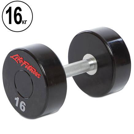 Гантель цельная профессиональная Life Fitness (1шт) 16кг (SC-80081-16), фото 2