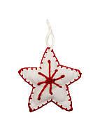 """Игрушка на елку """"Звезда"""" Coincasa 14х14,5см Белый, Красный"""
