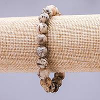 Браслет на резинке Пегматит Еврейский камень гладкий шарик 10мм