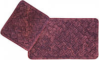 Набор ковриков для ванной Arya Hasir 50*60 см + 60*100 см бордовый арт.TR1006872