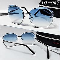 Солнцезащитные женские очки льдинки синие с футляром высокого качества ТУРЦИЯ