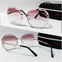 Солнцезащитные женские очки льдинки розовые высокого качества сертифицированные Турция с футляром
